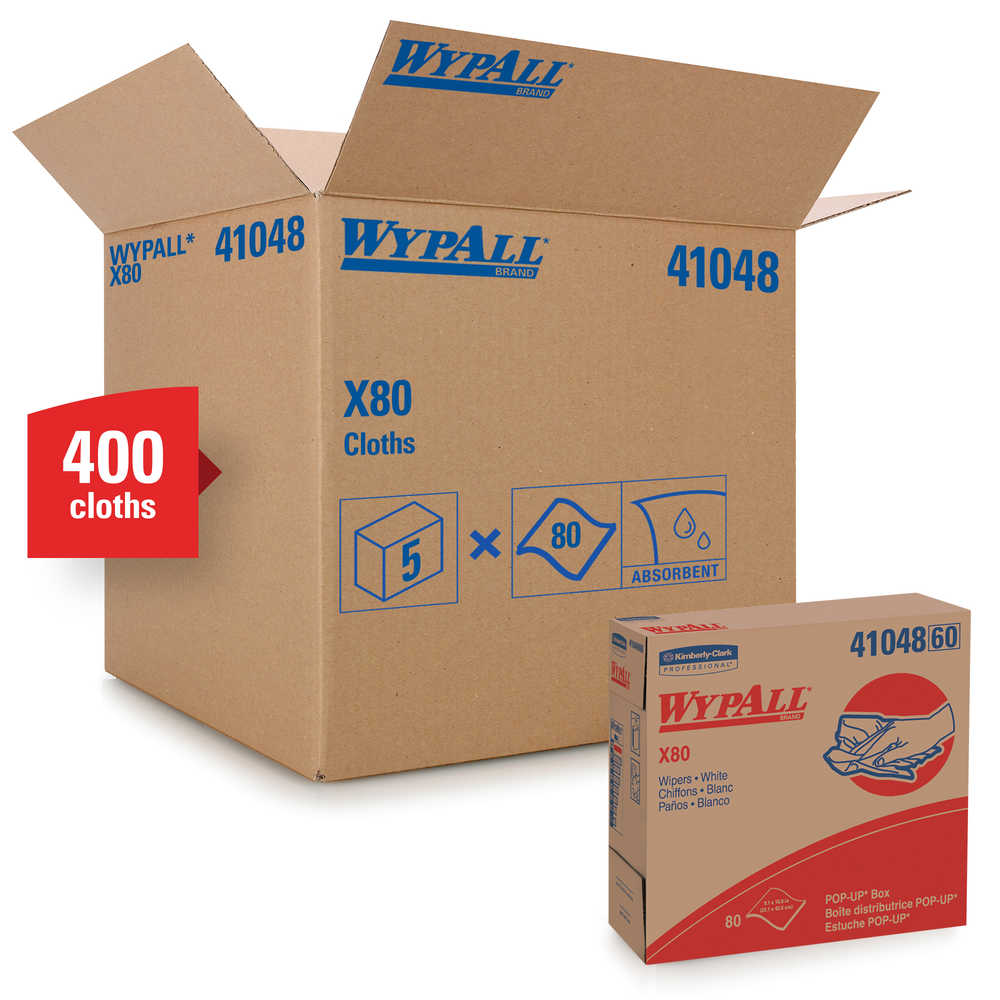 WypAll® X80™ Pop-Up Box™ Extended Use Hydroknit Cloths, White 80/Box