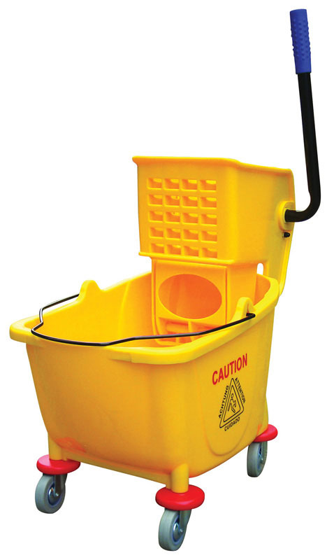 Side Press Mop Bucket and Wringer  in Yellow 34 Quarts / 8.5 L
