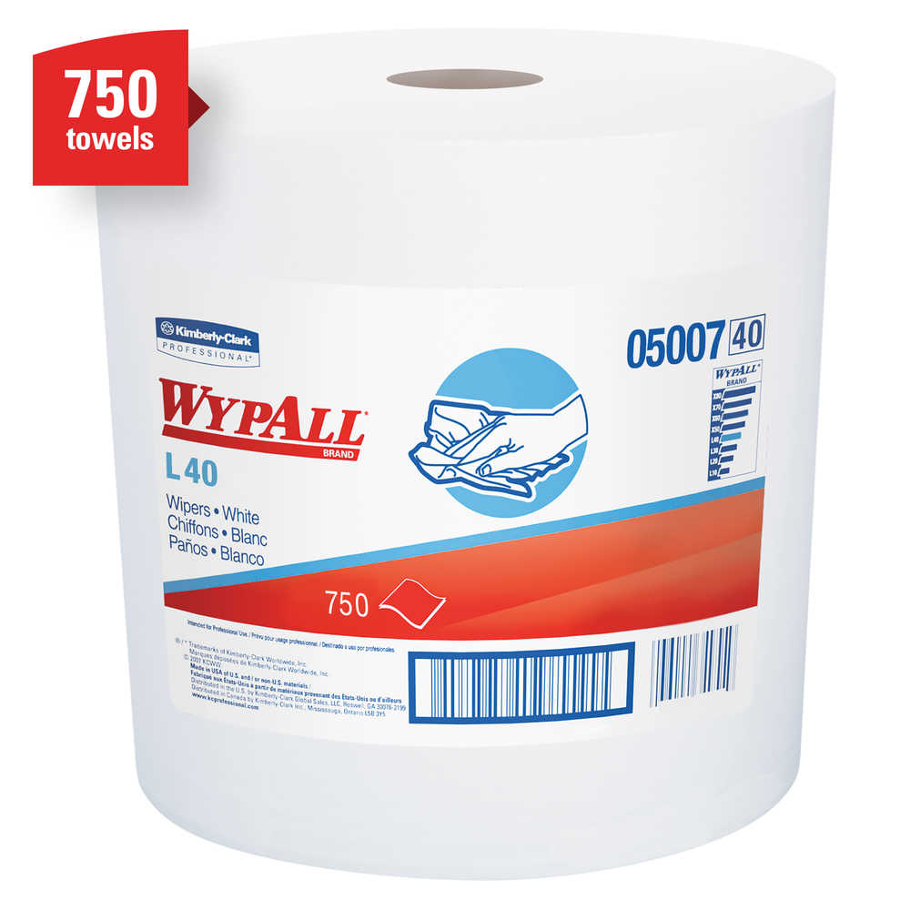 WypAll® L40 Wiping Towels, Jumbo Roll, White, 750sht/Case