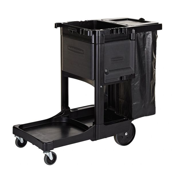 Janitorial cleaning cart black