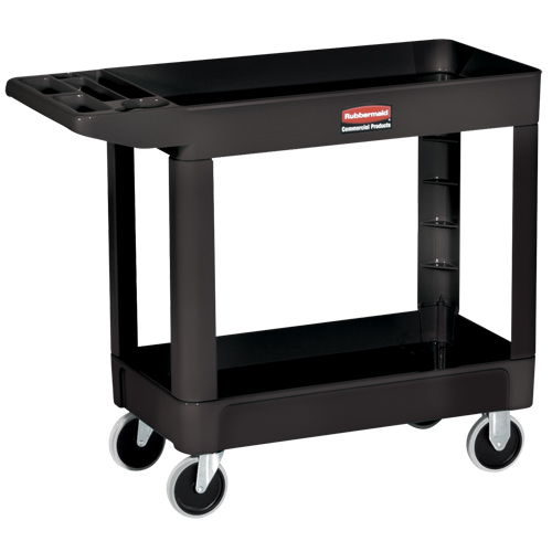 Heavy duty flat handle untily cart with lipped sheft black