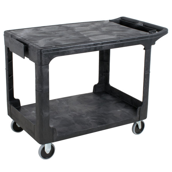 Rubbermaid® Heavy Duty Flat Handle Utility Cart, Flat Shelf, M  BLK