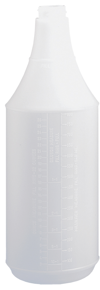 32oz/946mL Tolco® Bottle, Round, with Embossed Scale, Plastic, White